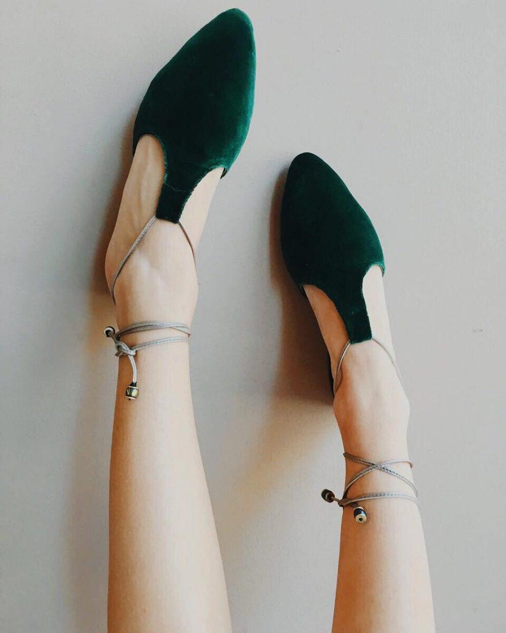 Pantoufle de vert